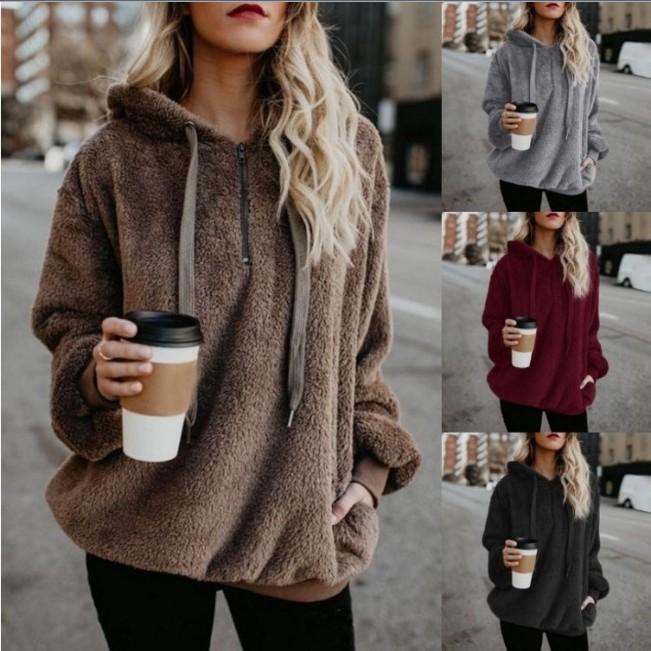 Women autumn casual hoodies sweater girls winter velvet coat