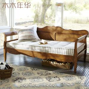 复古美式乡村沙发床 全实木懒人沙发床 贵妃椅带拖床上海家具定制