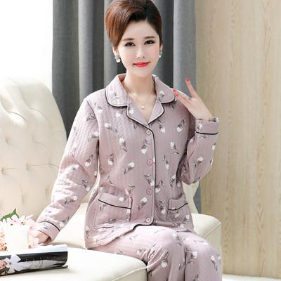 秋冬季中老年人睡衣女冬加厚三层夹棉纯棉大码中年妈妈家居服套装