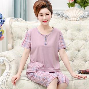 夏季中老年中年短袖纯棉宽松睡衣
