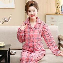 春秋冬季中老年中年长袖夹层纯棉睡衣女夹棉加厚款妈妈家居服套装