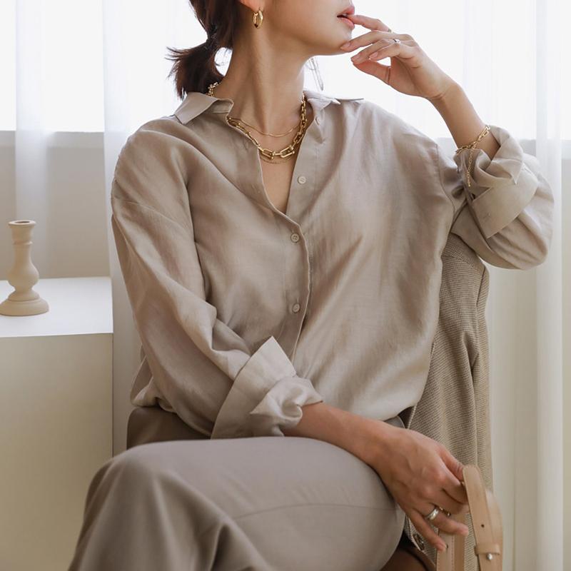 2020缎面气质衬衫女职业休闲光泽长袖方领衬衣宽松中长款垂感上衣