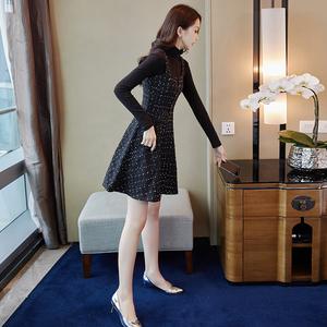 连衣裙女秋冬2019新款女装气质背带裙两件套a字裙套装洋气冬裙子