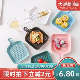 北欧餐具盘子创意网红盘子菜盘家用单柄烤盘陶瓷烤箱用可爱的盘子图片