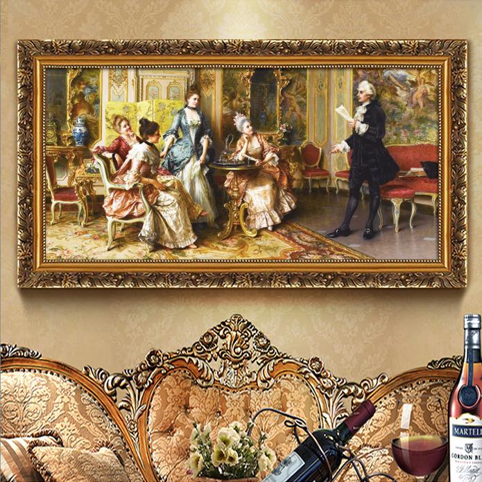 欧式酒店壁画KTV包房挂画大厅墙画人物画西方宫廷油画有框画客厅