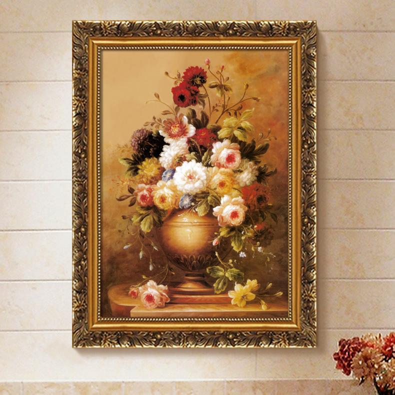欧式有框古典画装饰画客厅画餐厅玄关挂画家居壁挂画喷绘仿真油画图片