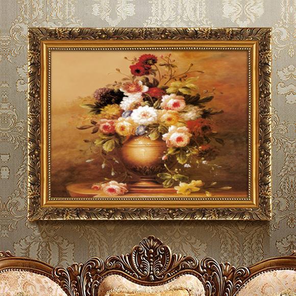 客厅装饰画简约沙发背景墙挂画两联画餐厅墙画玄关壁画欧式古典花图片