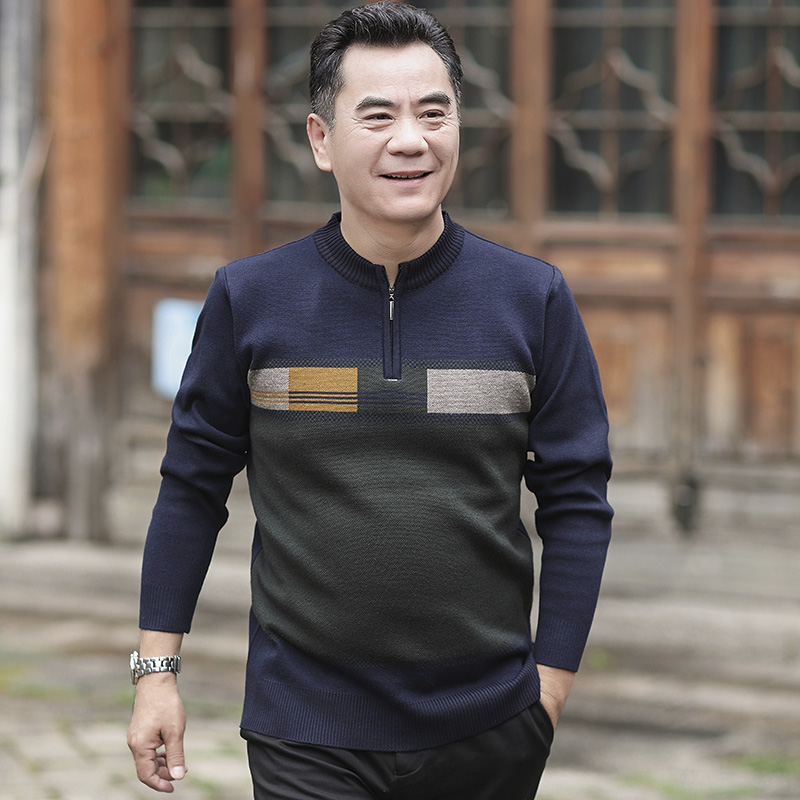 Dad autumn winter middle aged dad thickened sweater half high collar mens sweater long sleeve 326p40