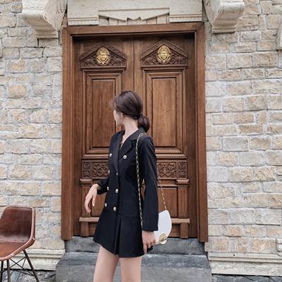 实拍现货917#2019新款春秋西装领连衣裙网红收腰气质修身显瘦裙女