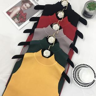 無袖網紅同款上衣女mschf樹葉小吊帶冰絲半高領背心針織打底衫潮