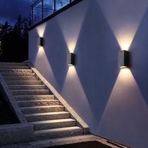 壁灯LED后现代简约酒店过道灯卧室床头灯不锈钢方形室外户外防水