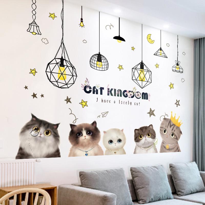 3D立体猫咪墙贴纸贴画卧室床头温馨创意背景墙壁自粘房间墙面装饰