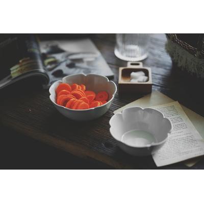 花。哑光感陶瓷深盘/饭碗。益子烧风格日式花型盘碗 小而美