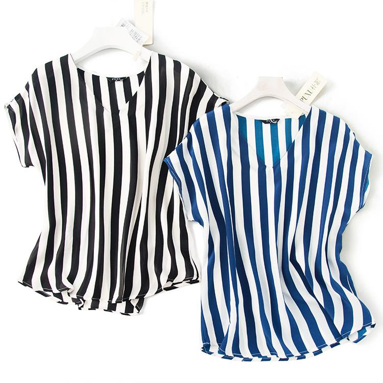 欧洲站高端定制V领设计显瘦竖条纹落肩袖宽松圆弧下摆真丝T恤