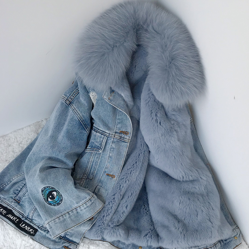 2020 New School Overcome Fur Fox Fur Rex Rabbit Fur Liner Cowgirl Detachable Small Short Jacket Winter