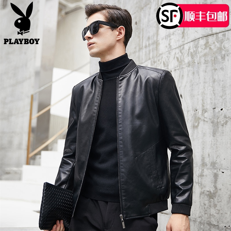 Playboy men's leather jacket spring and autumn Slim Korean style handsome leather jacket jacket men's youth motorcycle clothing tide
