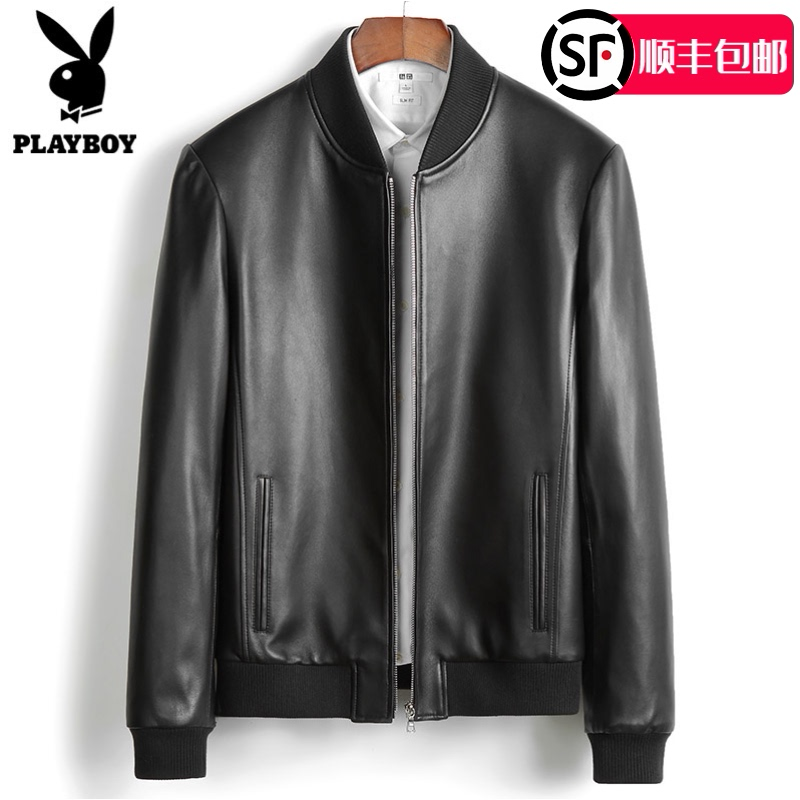 Playboy baseball collar leather leather jacket men's sheepskin casual loose wild breathable leather jacket men's autumn
