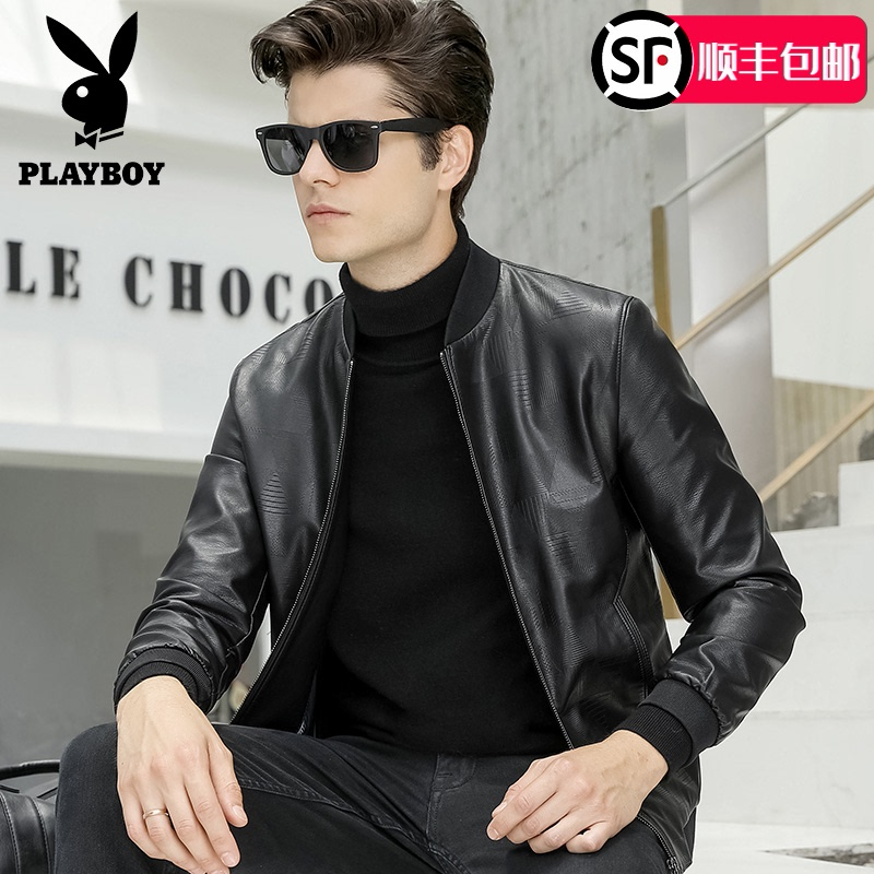 Playboy Leather Men's fashion Korean version slim baseball collar motorcycle coat youth handsome leather jacket men's clothing