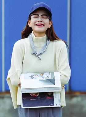 2017冬季新款韩国东大门纯色宽松加厚半高领打底毛衣女