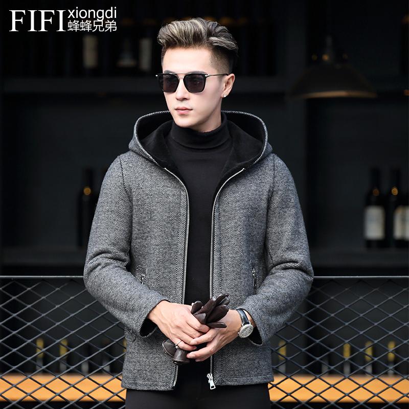 Winter cashmere coat mens hooded fur coat Haining fur coat fur one short fashion leather jacket