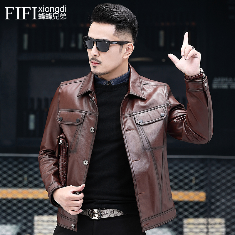 New autumn and winter leather suit mens locomotive short head leather Lapel coat handsome young Plush jacket