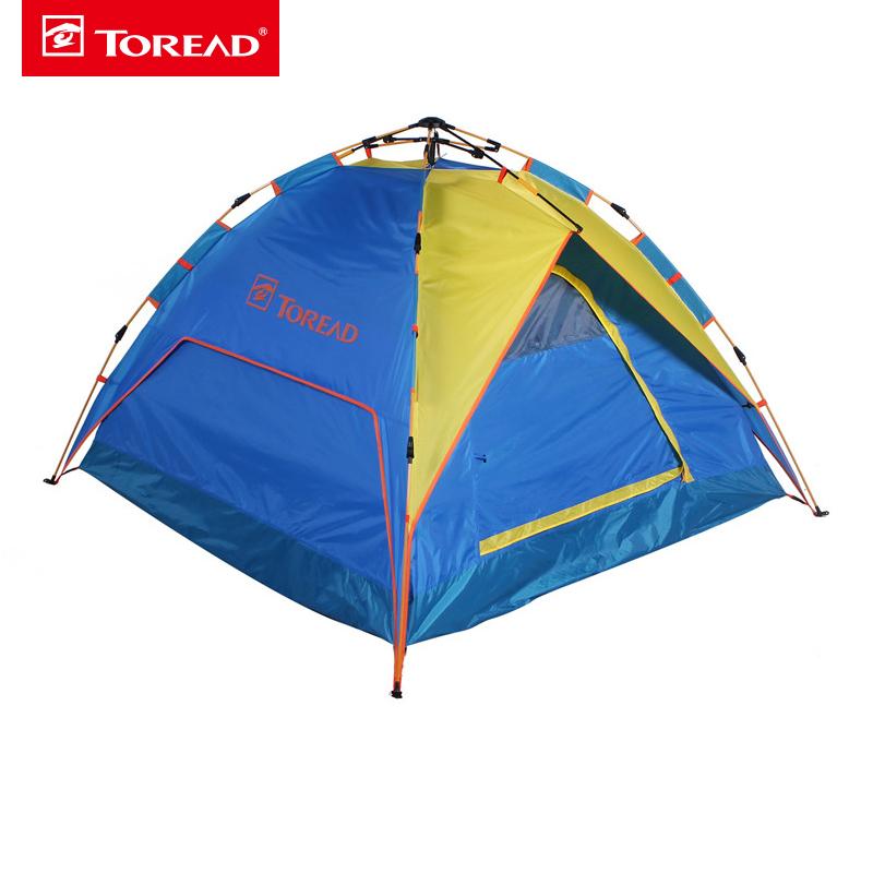 探路者户外露营野营装备3-4人一居室液压全自动速开帐篷KEDE80451