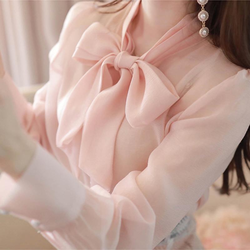 雪纺衬衫女甜美长袖秋冬季上衣气质时尚韩版超仙洋气蝴蝶结白衬衣