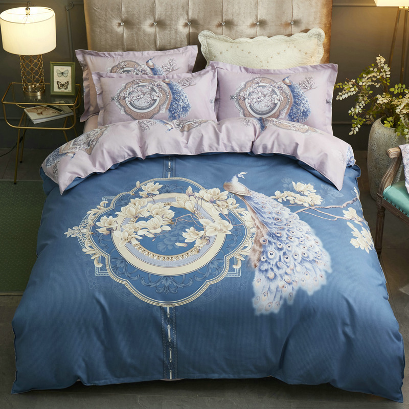 Four piece bed quilt cover simple Bedding Set student cartoon cat bed sheet cotton bedding
