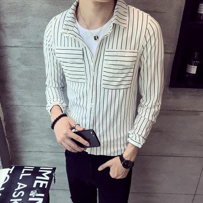1296-P68 网红衬衫男韩版竖条纹社会青年ins超火长袖衬衣帅气 白