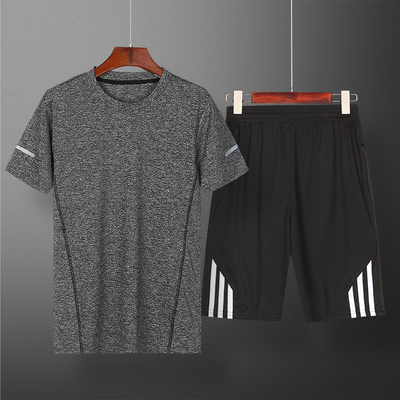 Summer sports suit men's quick-drying running sportswear round neck short-sleeved T-shirt fitness five-point pants basketball suit two-piece