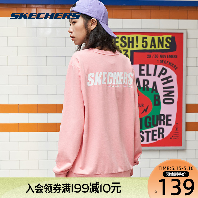 Wei Ya recommends Skechers Skechers spring and summer couple sweater men and women sports long-sleeved round neck pullover