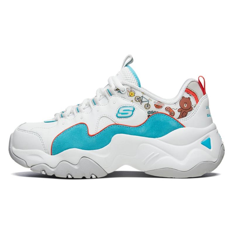 Skechers斯凯奇女鞋LINE FRIENDS合作款复古熊猫鞋老爹鞋66666255