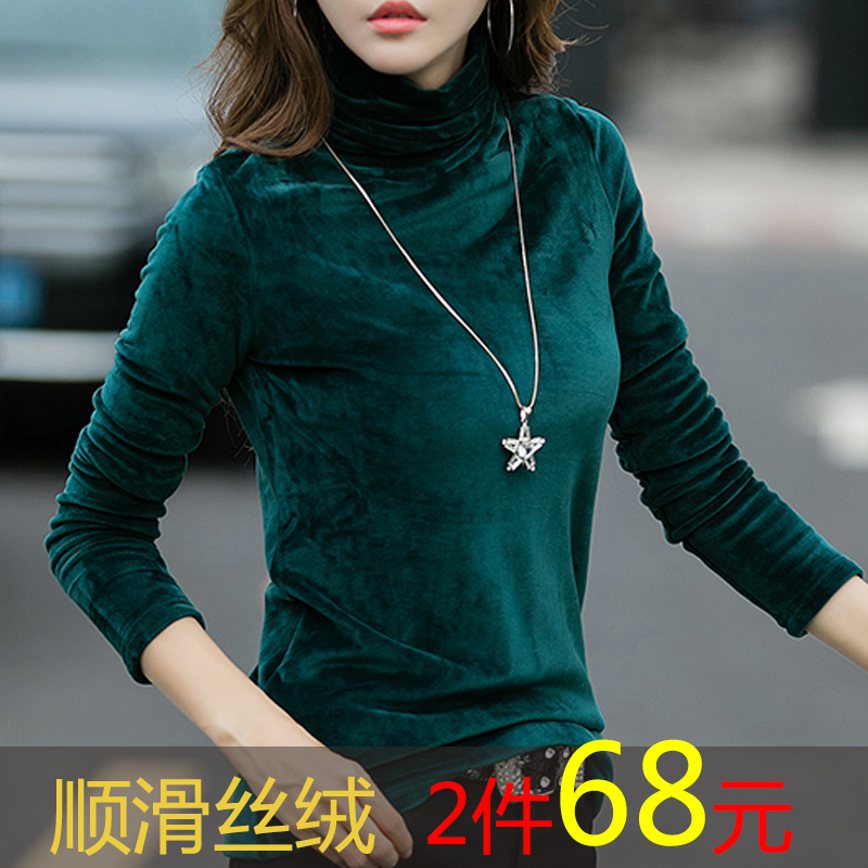 Womens autumn and winter high collar T-shirt with cashmere and slim body