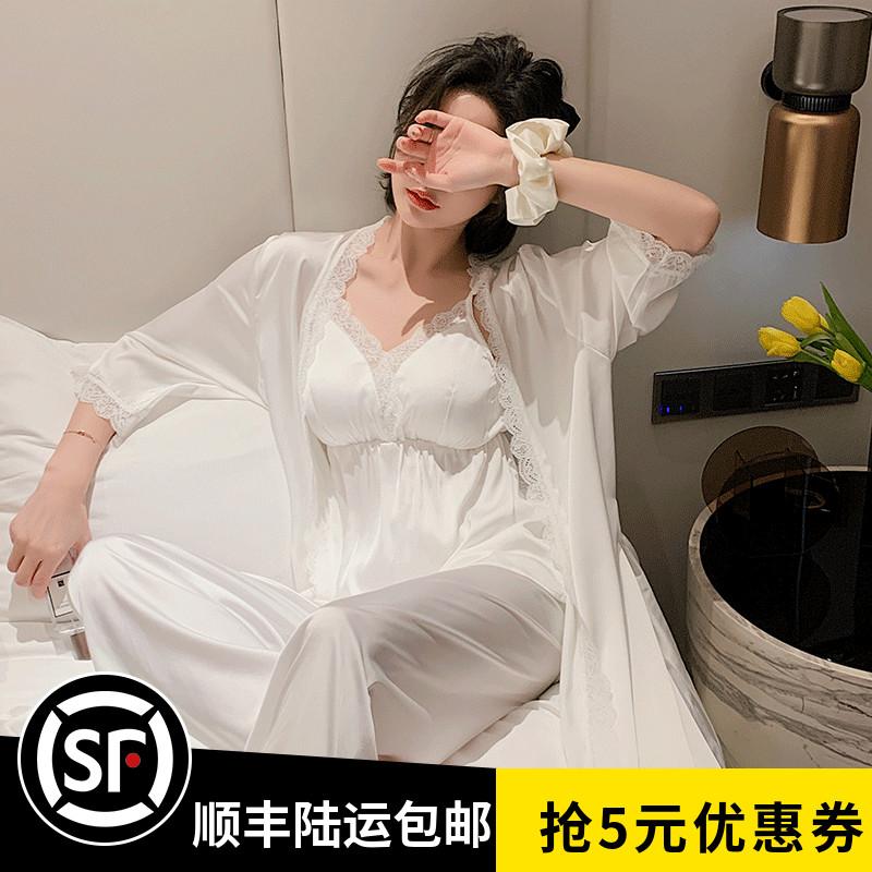 真丝睡衣女春秋夏性感蕾丝边冰丝吊带睡袍三件套月子家居服带胸垫
