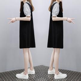 2020年夏新款韩版中长款条纹拼接时尚显瘦宽松大码a字连衣裙子女