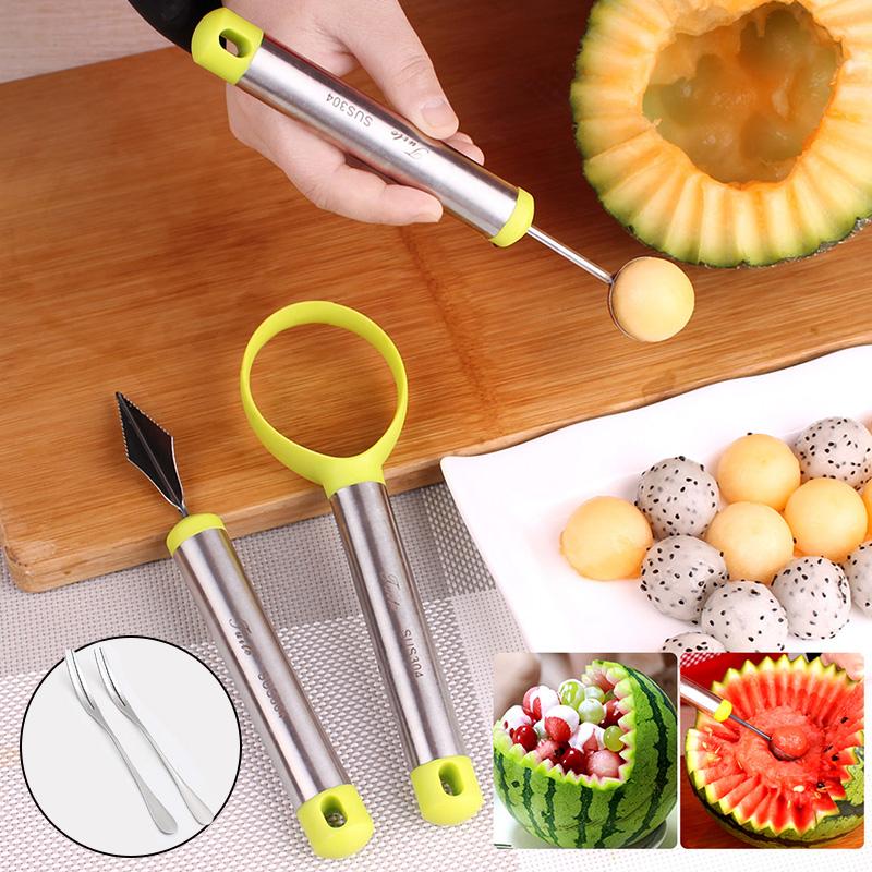 304水果挖球器西瓜哈密瓜雕花刀挖球勺水果刀创意水果拼盘套装