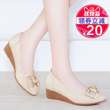 Genuine Leather Slope-heeled Single Shoes Female Autumn Shoes Mid-high heel 2019 New Four Seasons Soft-soled Spring and Autumn Comfortable Thick-soled Leather Shoes