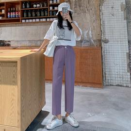 夏季九分西装裤女薄款2020新款高腰垂感直筒宽松百搭显瘦紫色裤子