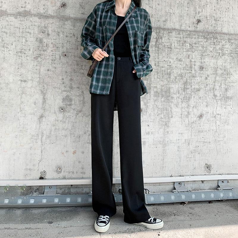 阔腿裤女裤高腰秋冬垂感2019新款毛呢黑色西装裤直筒宽松拖地休闲