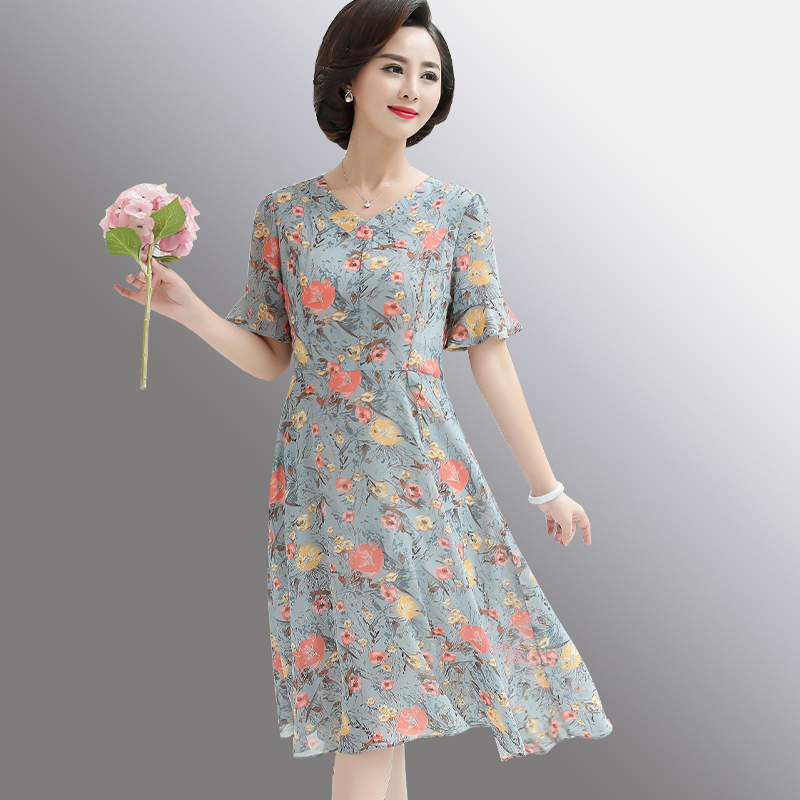 妈妈装夏装雪纺连衣裙中年40岁50中年女装高贵短袖裙子中老年秋装