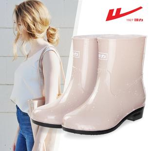 回力雨鞋女夏季时尚款外穿水鞋女士雨靴短筒中筒防水防滑胶鞋套鞋