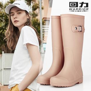 回力水鞋女士雨靴长筒高筒防滑胶鞋加绒加厚雨鞋女时尚款外穿保暖