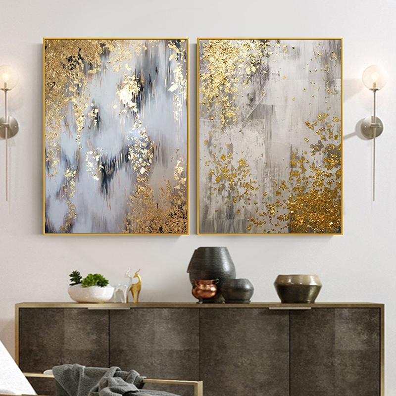 手繪抽象金箔油畫裝飾畫現代美式輕奢入戶玄關客廳餐廳背景墻掛畫