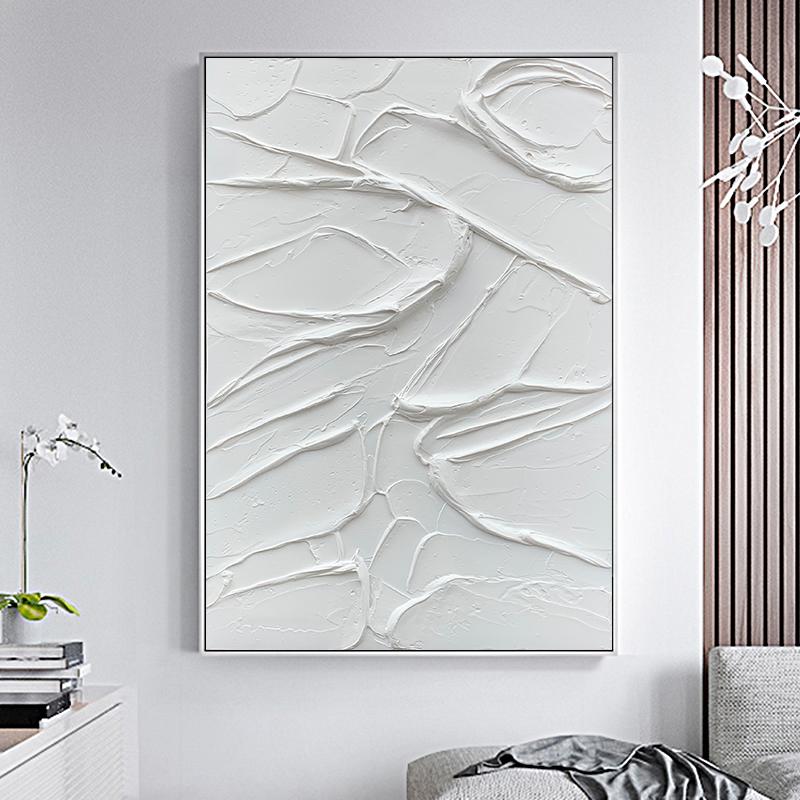 手绘油画现代简约客厅玄关餐厅背景墙装饰画极简抽象纯白肌理挂画图片