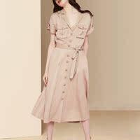 短袖气质休闲连衣裙2021新款夏装女中长款修身显瘦工装风衬衫裙子