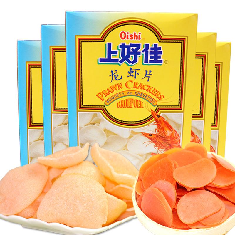 年貨上好佳龍蝦片200g^~5盒油炸原料食品膨化辦公室 零食龍蝦餅