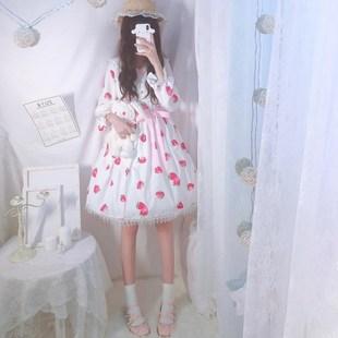 萝莉塔裙子蜜桃草莓lolital洛丽塔洋装日常学生可爱jsk雪纺公主裙