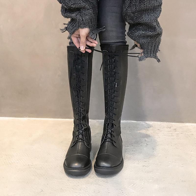 绑带马靴长靴女2019秋冬新款平跟高筒靴瘦瘦靴女及膝靴系带弹力靴