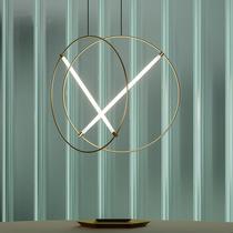设计师款后现代工业风样板间别墅咖啡馆高层高餐厅极简线条吊灯