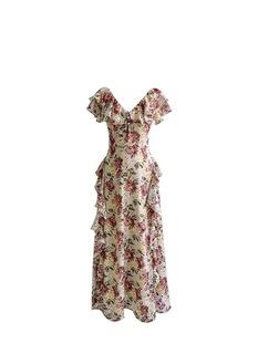法式復古碎花褶皺連衣裙甜美氣質一字肩雪紡A字超仙温柔長裙女夏